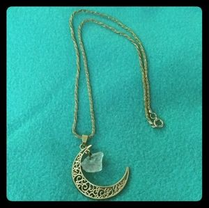Jewelry - Moon Pendant Braided Gold-Tone Necklace